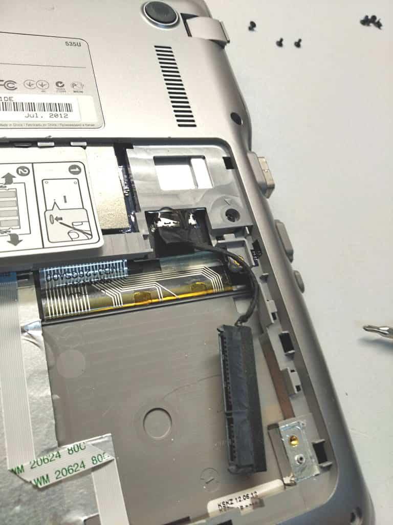 Leerer Schacht von Laptop ohne Festplatte